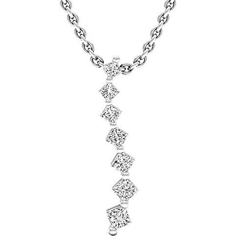 (Dazzlingrock Collection 0.30 Carat (ctw) 14K Princess Diamond Ladies Journey of Life Pendant 1/3 CT, White Gold)