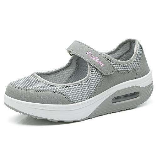 Sneaker Damen Plateau Atmungsaktiv Mesh Turnschuhe Frauen Leicht Outdoor Wedges Sportschuhe Größe 35-42 C-grau