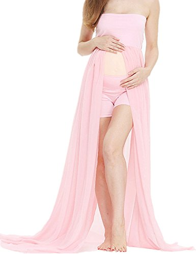 D&J Sexy Maternity Dress Chiffon Off Shoulder Front Split Pregnancy Gown Maxi Photography Dress Pink