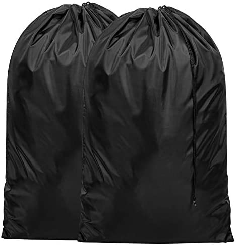 ZERO JET LAG 2 Pack Extra Large Laundry Bag for Travel Nylon Rip-Stop Dirty Clothes Bag Hamper Liner Machine Washable with Drawstring Closure College Essentials (Black)