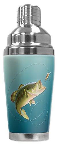 - Mugzie 20 Ounce Stainless Steel Cocktail Shaker with Insulated Wetsuit Cover - Bass