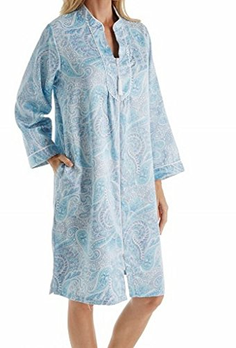Back Satin Short Zip Robe (831176) S/Large Blue Paisley (Satin Zip Robe)