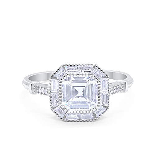 Art Deco Halo Asscher Cut Engagement Ring Bezel Baguete Round Simulated Cubic Zirconia Solid 925 Sterling Silver Size-5