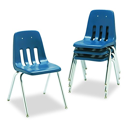 Virco Stacking Chair - Virco Student Chair, Navy, Soft Plastic Shell, 18