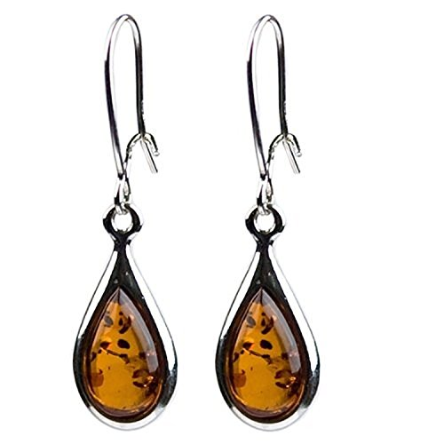 Certificated Genuine Amber Sterling Silver Small Tiny Teardrop Earrings
