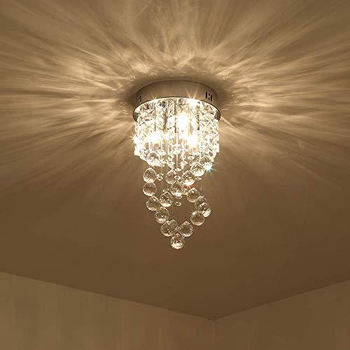 Mini Crystal Chandelier with 1 Light Modern Raindrop Ceiling Light Pendant Light Fixtures Flush Mount Lamp for Living Room, Bedroom, Study Room (Raindrops Mini Chandelier)
