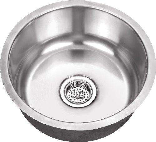 808SB 17''x17''x7'' Single Round Bowl Bar Prep or Vegetable 18 Gauge Stainless Steel Kitchen Sink by Magnus Sinks