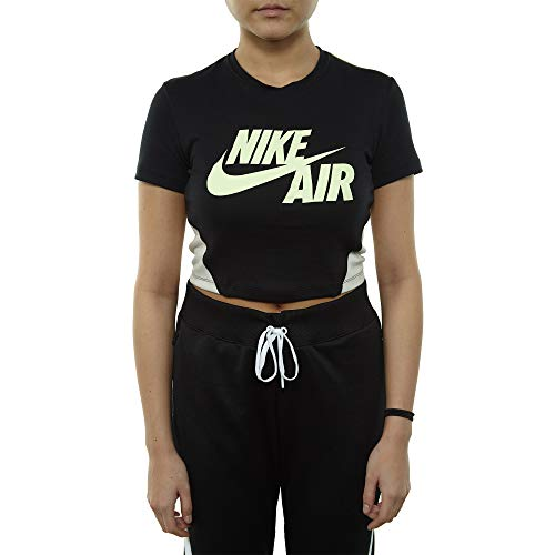 NIKE Womens W NSW TOP Short Sleeve Crop QS AJ3844-010_S - Black/Neutral Olive/Barely Volt ()