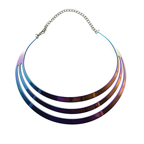 (S&Moon Colorful Metal Chunky Statement Multi Layerd Choker Necklace for Women Girls (Multicolor))