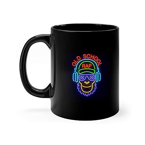 Old School Rap Neon Text And Cool Monkey In Glasses Headphones Hip Hop Milk Mug Ceramic 11 Oz (Best Old School Headphones)