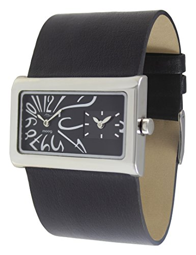 Moog Paris Stars Women's Watch with Black Dial, Black Strap in Genuine Leather - M41612-006