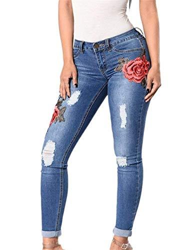 Solo Ropa Muster Las De 3 Desgastados Rotos Mujeres Elásticos Mezclilla Un Bordados Pecho Pantalones Vaqueros Flacos Florales xCpBqwxYO