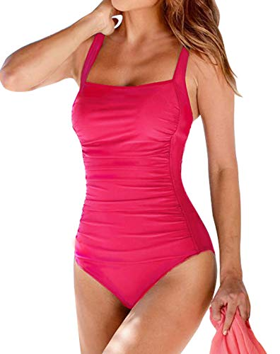 Upopby Women's Vintage Padded Push up One Piece Swimsuits Tummy Control Bathing Suits Plus Size Swimwear Hot Pink 18 (Hot Bathing Suits)