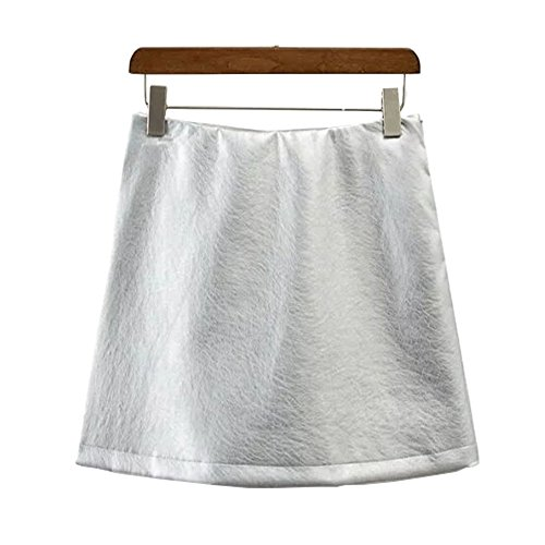 NEW Metallic color Faux leather Skirt New Women High Waist A lined Bright color mini short Skirts Femme Gold Silver 2 colors