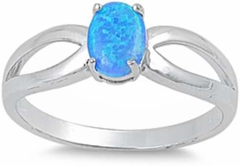 Lab Created Blue Opal Fashion .925 Sterling Silver Ring Sizes 5-10 SRO17569-BO