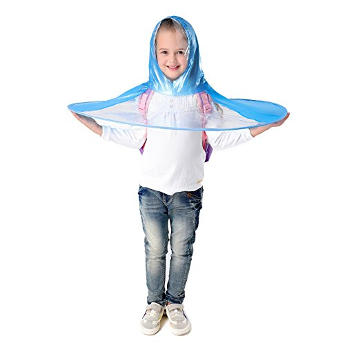 Y-Nut UFO Raincoat, Large for Kids Adults, Saucer Poncho Head Umbrella Novelty Headwear Cap Hat Rainwear for Children