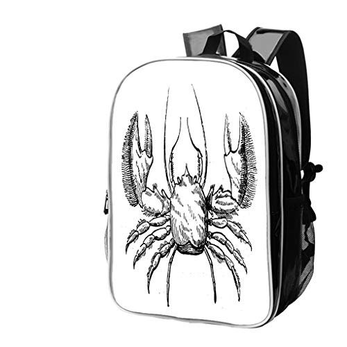 High-end Custom Laptop Backpack-Leisure Travel Backpack Antique Illustration of (Broad Clawed) Porcelain Crab Porcellana Water Resistant-Anti Theft - Durable -Ultralight- Classic-School-Black