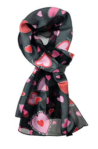 Plum Feathers Holiday Prints, Valentine's, St. Patricks Patterns Satin Scarf (Black with Pink Hearts) (Valentine Hearts Scarf Ladies)