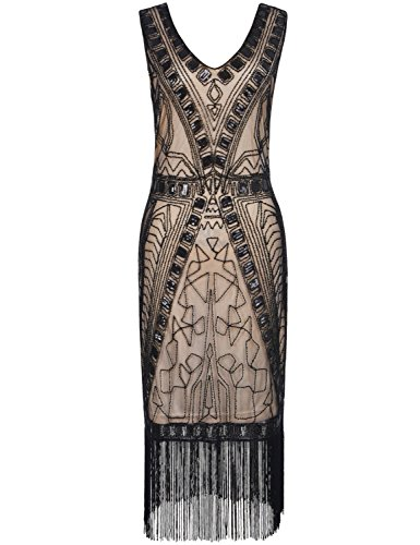 Kayamiya Women's 1920s Art Deco Beaded Sequin Inspired Fringe Great Gatsby Dress S Black Beige (Period Dress)