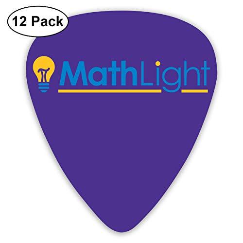 Qbeir 12-Pack Guitar Picks Plectrums 0.46mm / 0.71mm / 0.96mm Math Light Celluloid for Bass Ukulele