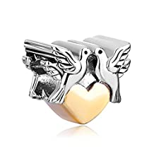Double Peace Doves On Heart Charm Sale Cheap Jewelry Beads Fit Pandora Bracelets