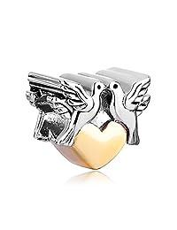 Double Peace Doves On Heart Charm Sale Cheap Jewelry Beads Fit Pandora Bracelets