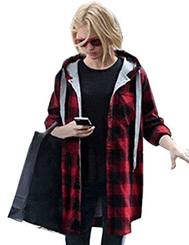 Plaid Hooded Flannel Jacket (OMEYA.WANSHIDA.Womens Long Sleeve Button Up Plaid Flannel Hooded Jacket Shirt(3XL, Red))