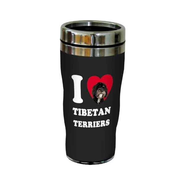 Tree-Free Greetings SG25133 I Heart Tibetan Terriers Sip 'N Go Stainless Lined Travel Tumbler, 16-Ounce, Black and White 1