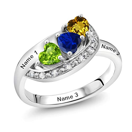 Gem Stone King Sterling Silver Engagement Ring Promise Ring Customized & Personalized 3 Birthstone Heart Shape Build Your Own For Her Heart Ring (Available in size 5,6,7,8,9)