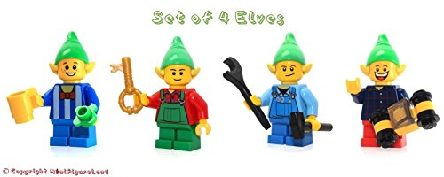 LEGO Holiday, Christmas MiniFigure: Set of 4 Holiday Elves (w/ Accessories)