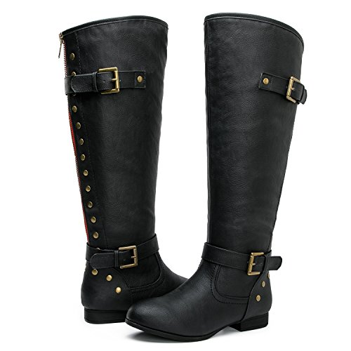 20fa8609cb69 GLOBALWIN Women s YY09 Black Large Calf to-The Knee Fashion Boots 10M
