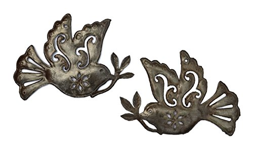 Haitian Metal - it's cactus - metal art haiti Doves of Peace, (set of 2), Inspiration Wall Decor, 5.5