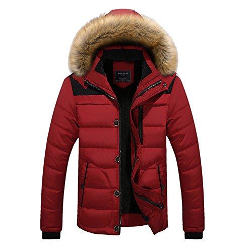 Men Hooded Jacket Winter Coat Parka Jacket Sweater Jacket with Removable Hat Cotton Padded Coats Red Black Blue Khaki M-5XL Kootk Red