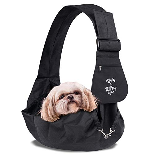 Puppy Eyes Waterproof Pet Carrier Sling Comfortable and Adjustable Dog Sling Ideal for Small & Medium Dogs up to 16 lb - Lightweight & Easy-Care Dog Carrier with Bonus car ()