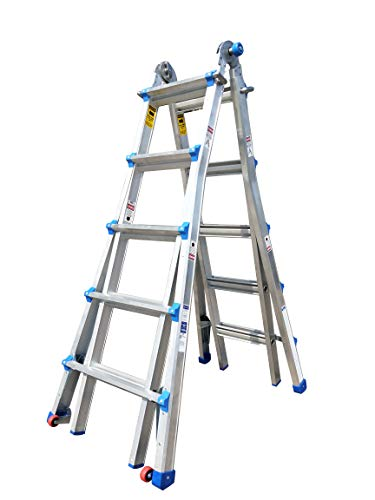TOPRUNG Model-22 ft. Aluminum Extension Multi-Purpose Ladder with Wheels 300 lb. Load Capacity Type IA Duty Rating