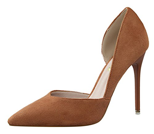 T&Mates Womens Comfort Pointy Slip-on D'Orsay Hollow Out Suede Stiletto High Heel Pumps Shoes (5 B(M)US,Khaki)