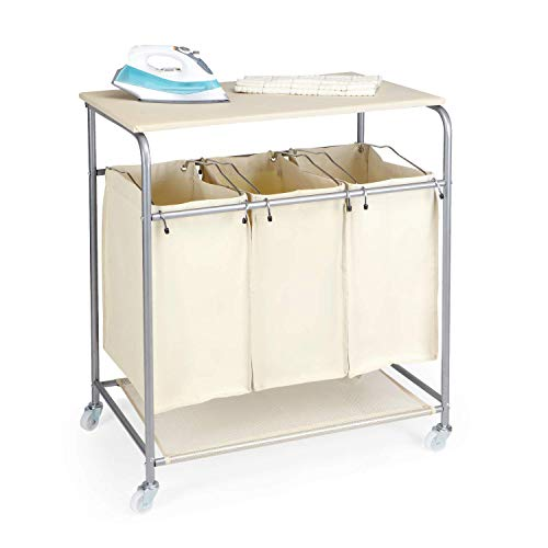 SPACE INNOVATIONS Laundry Sorter, 3 Bags Rolling Laundry Cart with Ironing Board and Folding Station, ()