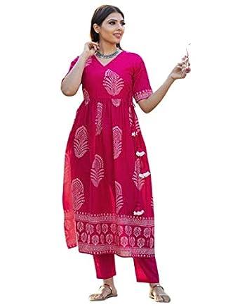 GoSriKi Women's Hand Block Pink Cotton Angrakha Flared Kurta with Pants (Vishal-GF)