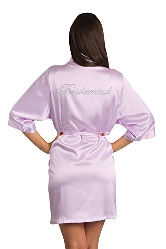 Zynotti Women's Rhinestone Bridesmaid Bridal Party Getting Ready Wedding Kimono Lavender Satin Robe - S/M