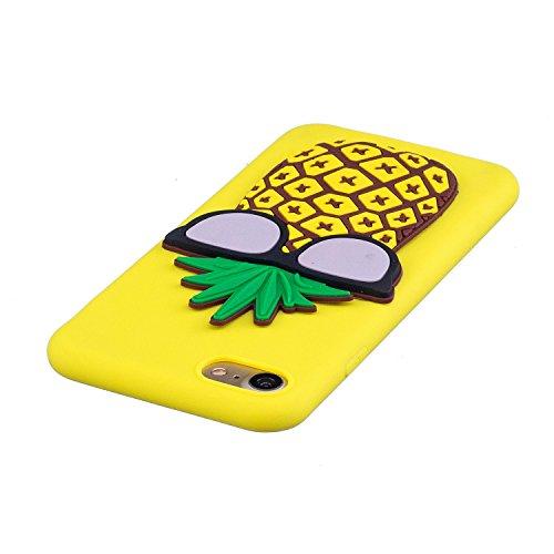 EUWLY iPhone 7/iPhone 8 Funda, iPhone 7/iPhone 8 Carcasa Silicona Creatividad Moda 3D Dibujos Animados Animales Diseño Cute Mariposa Suave TPU Silicona Caso Piel Cubierta para iPhone 7/iPhone 8, Ultra Piña
