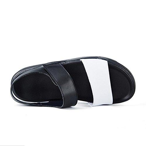 Shoes Bianca Sport con Uomo Sandali Sandali Velcro per in Beach Pelle Pelle Outdoor Light wgxO0q