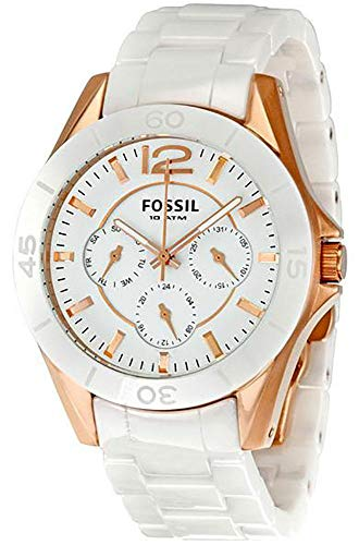 FOSSIL CE1006 Women's Rose Gold Chronograph Ceramic Watch