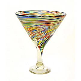 "Set of 4, Multi-color Twisted Martini Glasses-Mexican Recycled Glass-12 Ounces 28 Set of 4 Multi-Color Twisted Martini/Margarita Glasses Handmade with Recycled Glass. 6.75""H x 5.25""D Dishwasher Safe Top/Shelp"