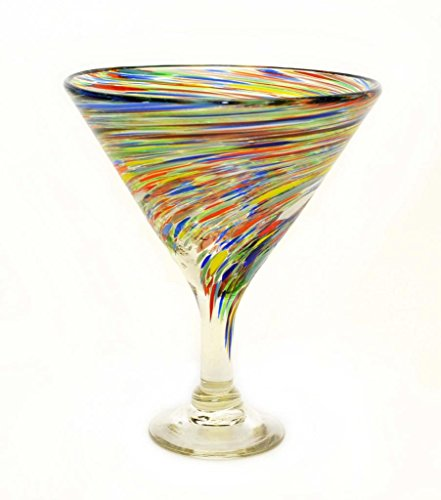 Set Of 4 Multi Color Twisted Martini Glasses Mexican Recycled Glass 12 Ounces Home Garden