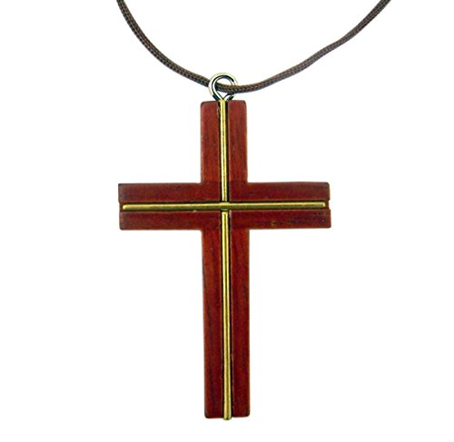 Religious Wood Cross Pendant with Gold Inlay, 1 5/8 Inch