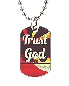 Trust God Customized Dog Tag Pet Tags Dogtag Necklace Charm Unique Gift