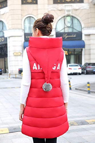 Cozy Cozy Winter Rot Women Zipper Side Long Overcoat Warm Pockets Sleeveless Vests Down Vest with Hooded Retro cAgaS1EO