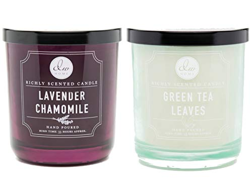 - DW Home Lavender Chamomile and Green Tea Leaves Medium 9oz Hand Poured Candles Set of 2 (Lavender Chamomile/Green Tea Leaves)