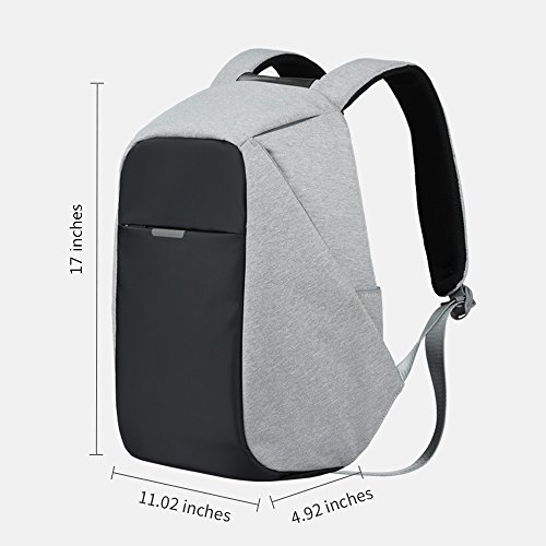Oscaurt Anti-theft Travel Backpack Business Laptop School Book Bag with USB Charging Port, Water Resistant Students Work Men & Women Daypack Grey by oscaurt (Image #1)