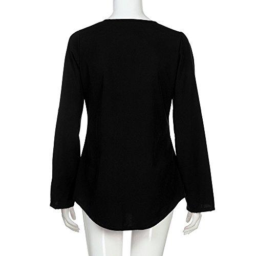 Lonshell Longues Chemisier Manches Top Mode Col V Mousseline Zipp Femmes Noir Tunique Blouse 5gWaw5n
